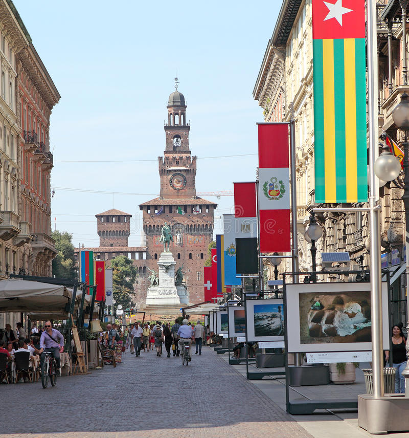 Download Sforza Castle editorial photo. Image of street, downtown - 24453601