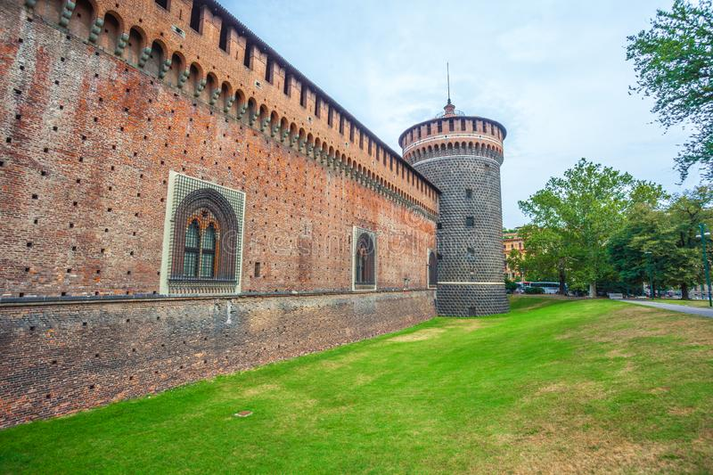 Sforza Castle Castello Sforzesco is a castle in Milan, Italy. Tower of Sforza Castle Castello Sforzesco is a castle in Milan, Italy royalty free stock photography