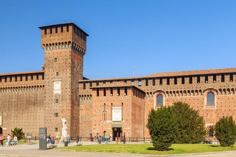 Sforza castle in the city of milan stock photos