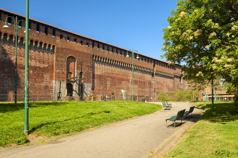 Sforza castle in the city of milan stock photography