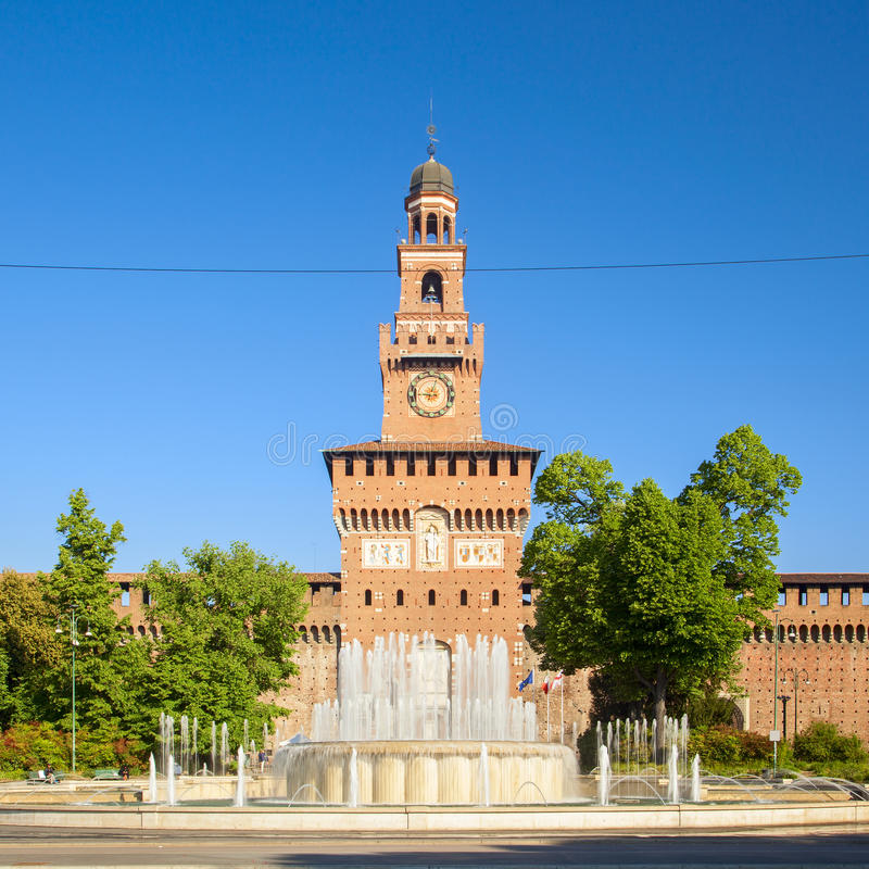 Sforza castle in the city of milan royalty free stock photography