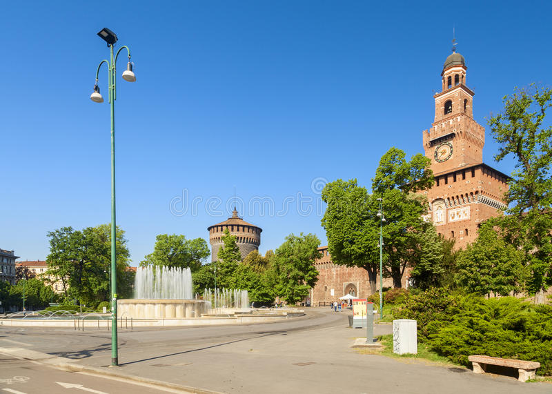 Sforza castle in the city of milan stock images