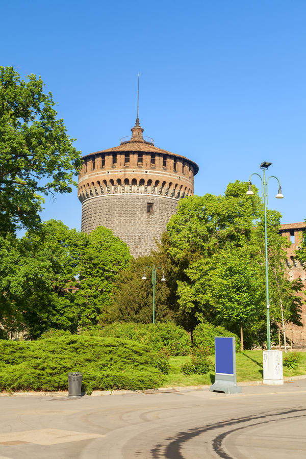 Sforza castle detail in the city of milan royalty free stock image