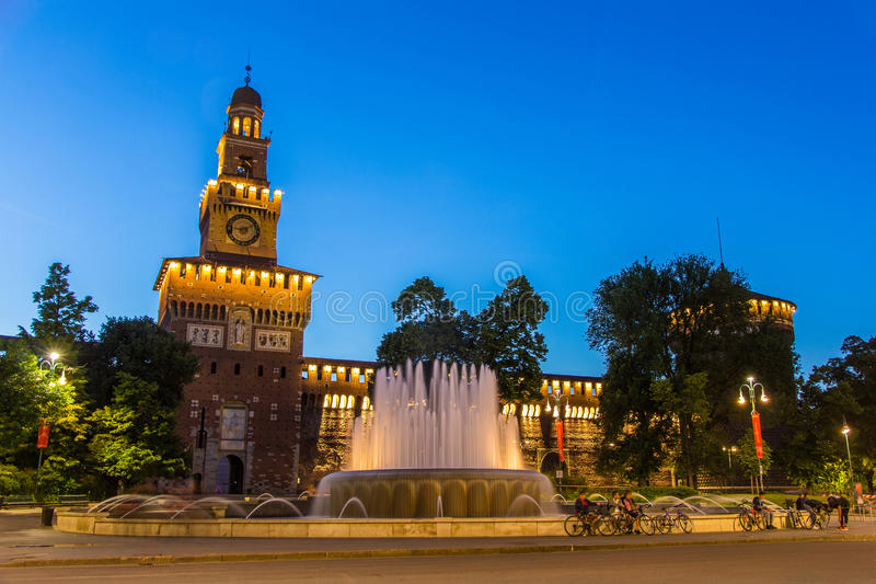 Sforza Castle in Milan in the evening royalty free stock images