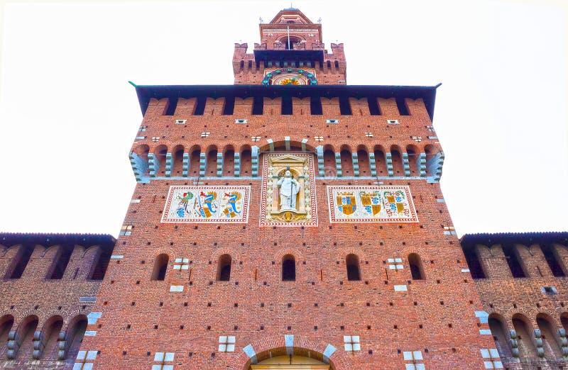Sforza` s kasteel in Milaan royalty-vrije stock foto's