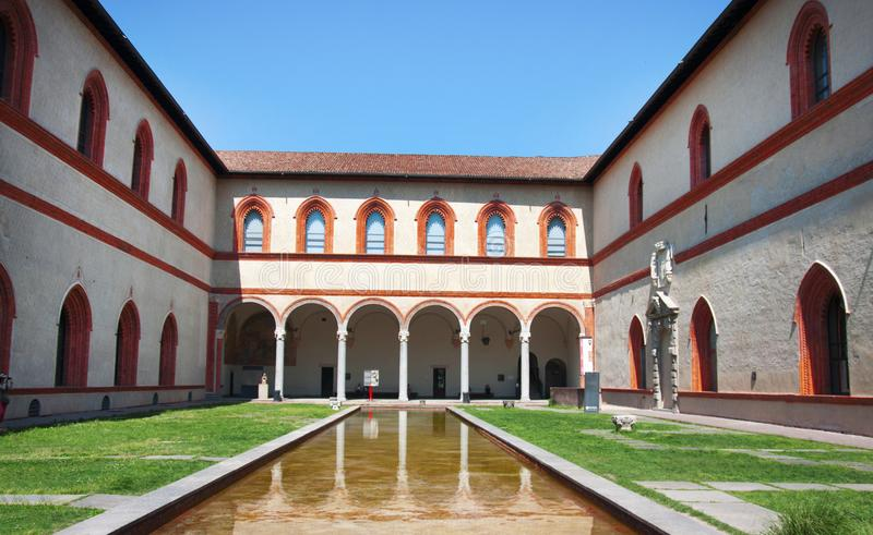 Download Sforza-Schlosspool stockfoto. Bild von pool, panorama - 106800654