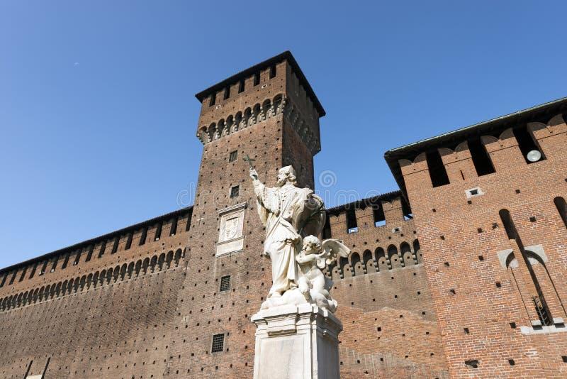 Sforzakasteel in Milan Italy - Castello Sforzesco royalty-vrije stock afbeeldingen