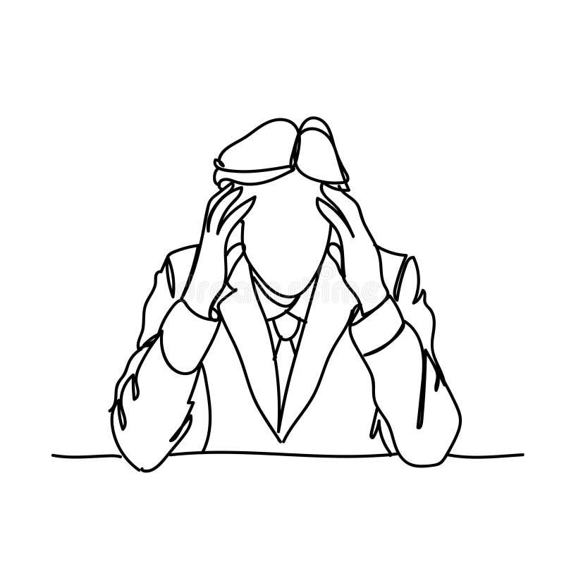 Sforzo della testa della tenuta dell'uomo di affari o concetto di emicrania frustrato scarabocchio illustrazione di stock