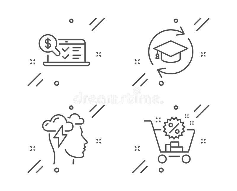 Sforzo di consapevolezza, contabilità online ed insieme delle icone di formazione continua Segno del carrello Vettore illustrazione di stock