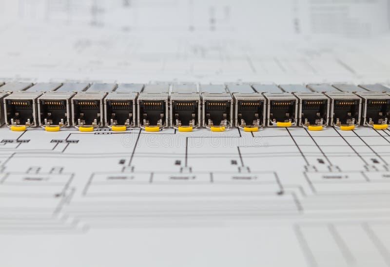 SFP-Netzmodule für Netzschalter auf dem Plan stockfoto