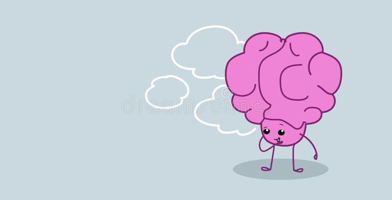 Sfrustowanego ludzkiego mózg mienia organowa ręka na podbródka główkowaniu rozpamiętywa nowej pomysłu kawaii stylu menchii postac royalty ilustracja
