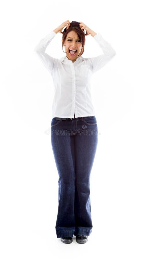 Download Sfrustowanej Indiańskiej Młodej Kobiety Krzyczący Ciągnięcie Jej Włosy Zdjęcie Stock - Obraz złożonej z potomstwa, tło: 41951218