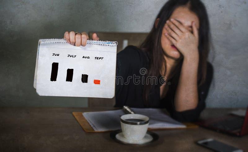 Sfrustowany biznesowej kobiety kierownictwa cierpienia depresji mienia wykresu diagram pokazuje rynku papierów wartościowych stre zdjęcie stock