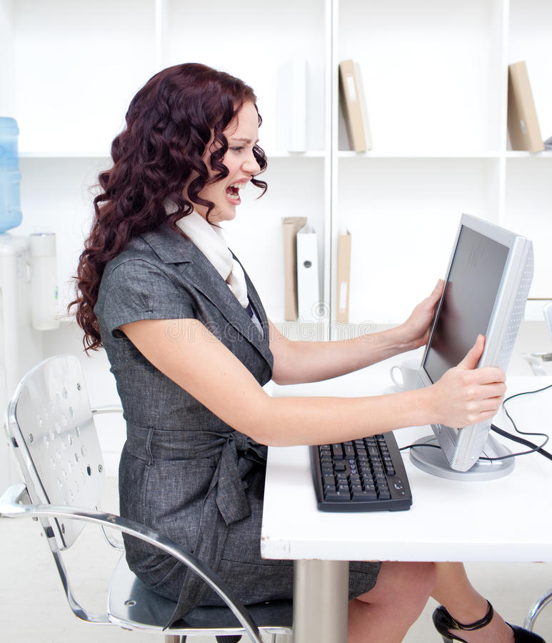 sfrustowany bizneswomanu biuro zdjęcia stock