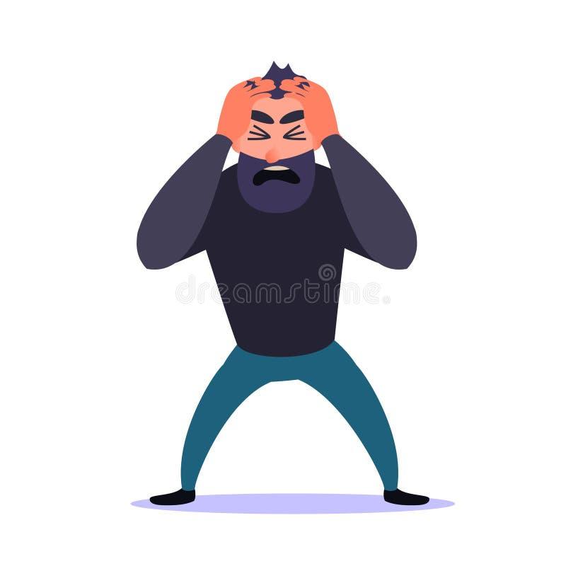 Sfrustowany mężczyzna przylega jego głowa i krzyczy Faceta niepokoju nieład Zdrowie psychiczne problemy, atak paniki i migrena, ilustracji