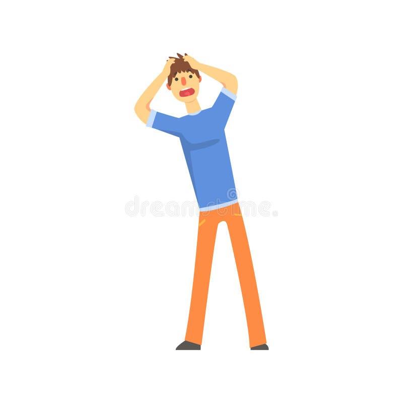 Sfrustowany smutny mężczyzna po tym jak wypadku samochodowego mienia ręki za jego przewodzą postać z kreskówki wektoru ilustrację ilustracji