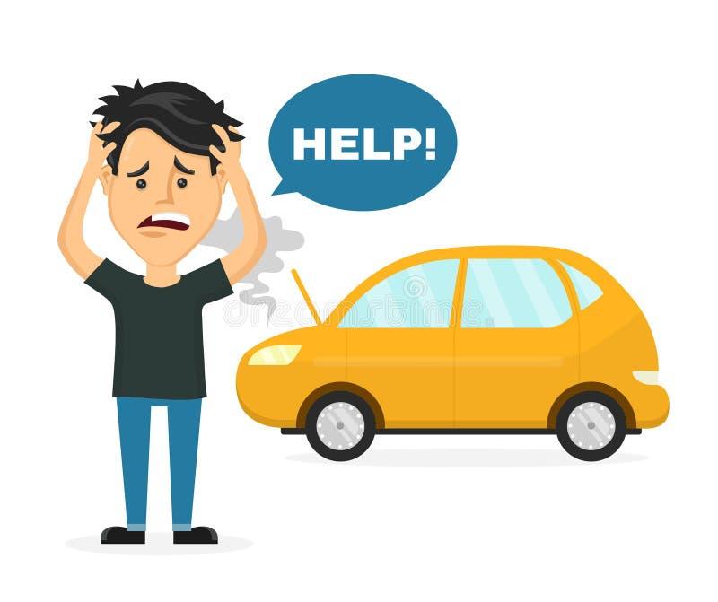 Sfrustowany smutny młody człowiek blisko łamanego samochodu ilustracja wektor