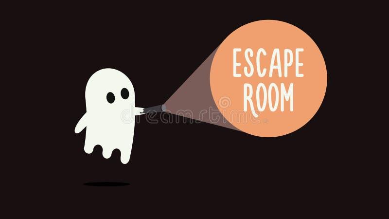 Sfugga al concetto del fondo dei giochi della stanza con il fantasma e la torcia elettrica Illustrazione di vettore royalty illustrazione gratis