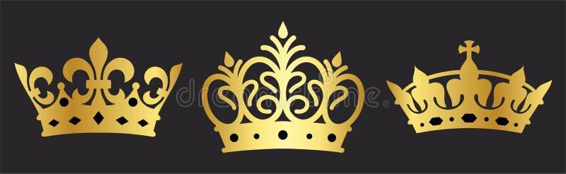 Sfumatura dell'insieme di corona d'oro lucido illustrazione di stock