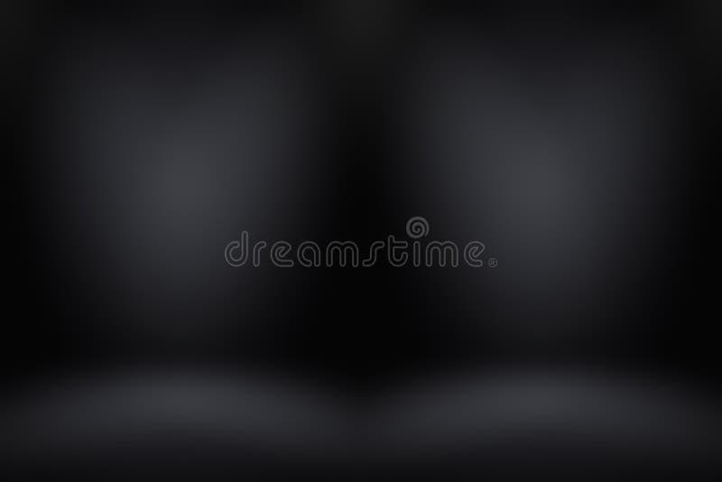 Sfuocatura di lusso astratta grigio scuro e pendenza nera, usata come parete dello studio del fondo per esposizione i vostri prod fotografia stock libera da diritti