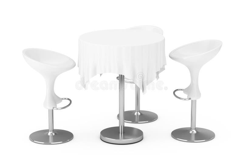 Sgabelli da bar moderni bianchi con la Tabella e la tovaglia rappresentazione 3d royalty illustrazione gratis