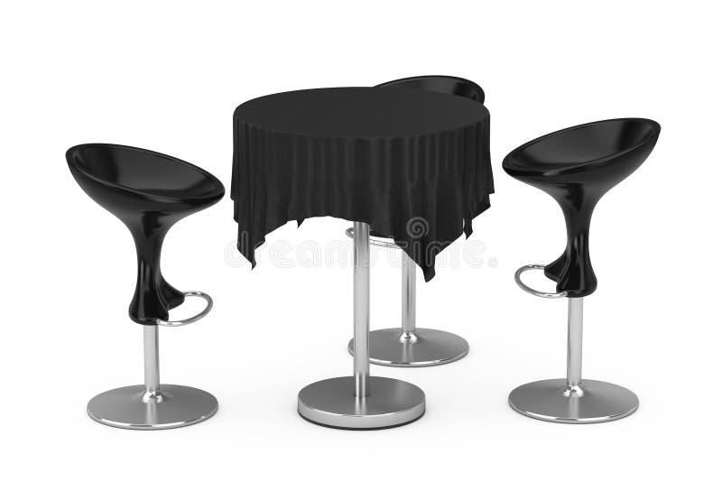 Sgabelli da bar moderni neri con la Tabella e la tovaglia rappresentazione 3d royalty illustrazione gratis