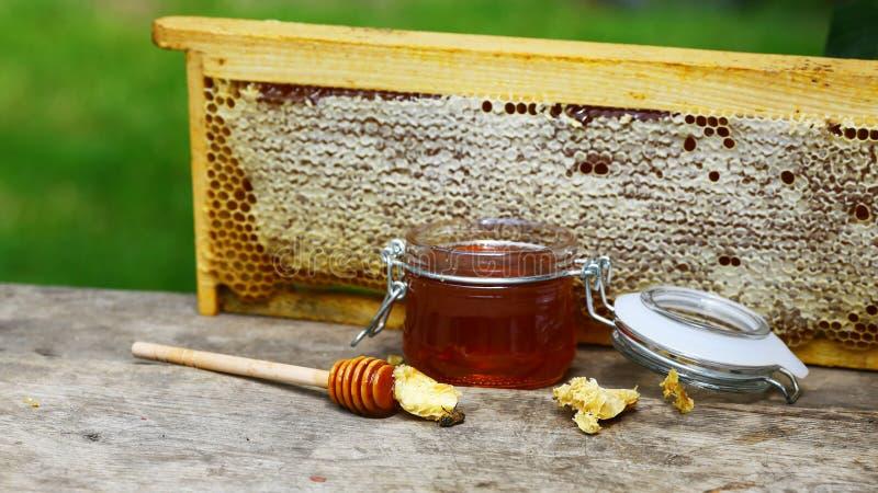 Sgocciolatura del miele da un merlo acquaiolo di legno del miele in un barattolo su fondo rustico grigio di legno Immagine autent fotografie stock