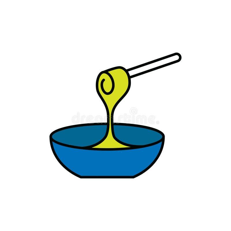 Sgocciolatura del miele dal bastone del merlo acquaiolo del miele royalty illustrazione gratis