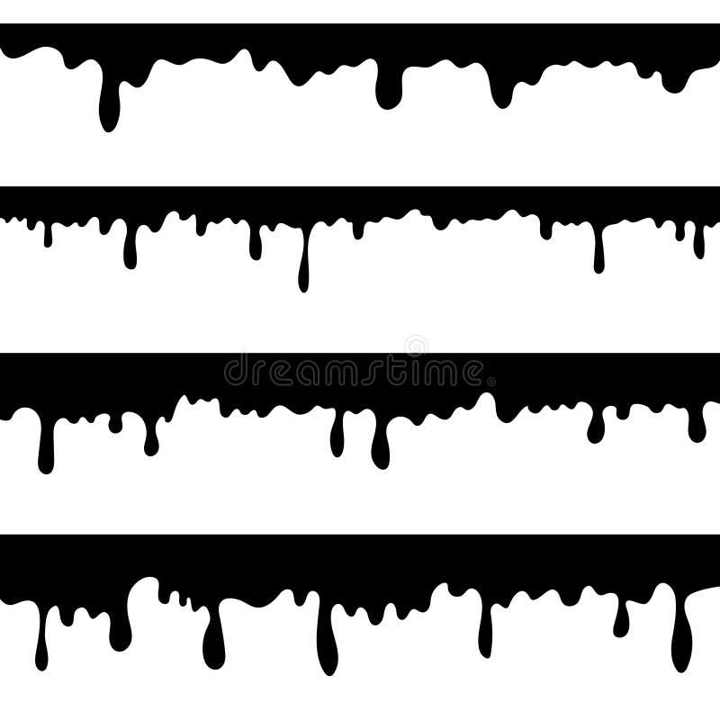 Sgocciolatura della pittura, liquido nero o vettore fuso dei gocciolamenti del cioccolato isolati Spruzzata del gocciolamento, il royalty illustrazione gratis