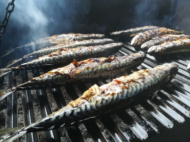 Sgombro del pesce sulla griglia immagini stock