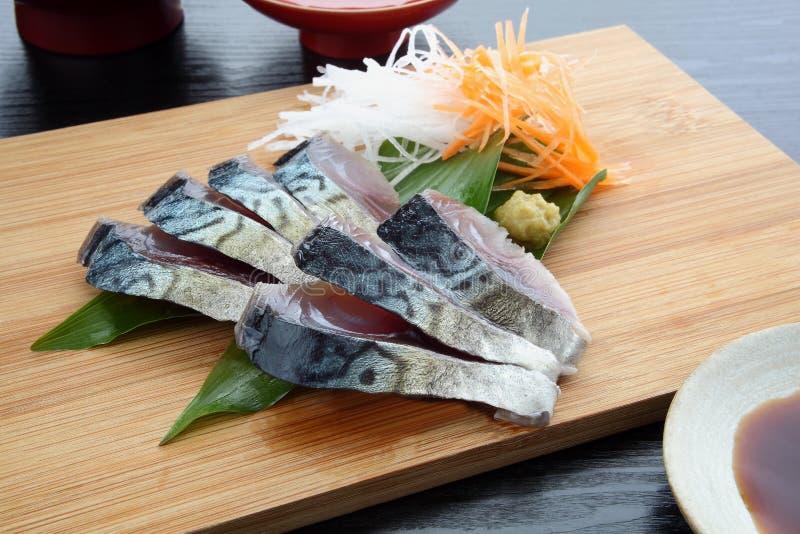 sgombro di Aceto-Ed con Wasabi e la causa giapponese, alimento giapponese fotografia stock