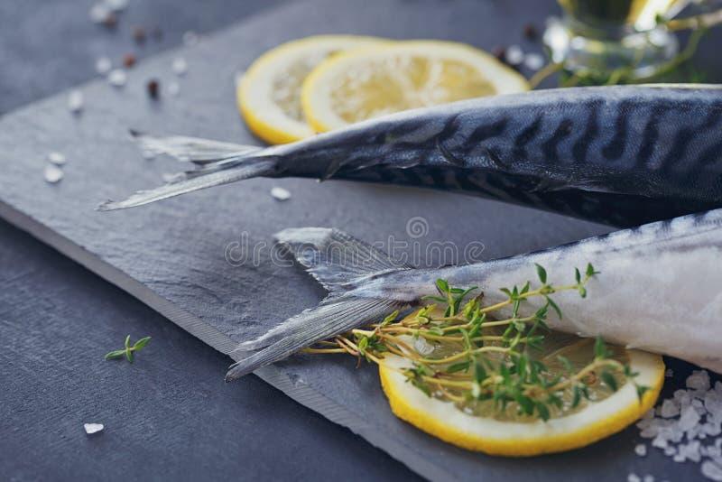 Sgombro fresco ed ingredienti del pesce crudo per la cottura sull'delle sedere scure fotografia stock