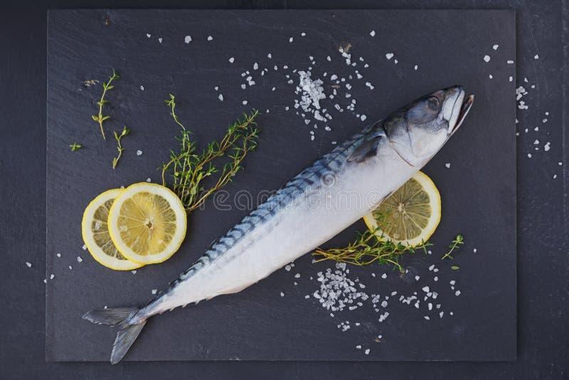 Sgombro fresco ed ingredienti del pesce crudo per la cottura sull'delle sedere scure fotografie stock