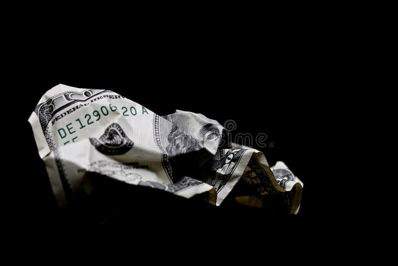 Sgualcito cento fatture del dollaro immagini stock libere da diritti