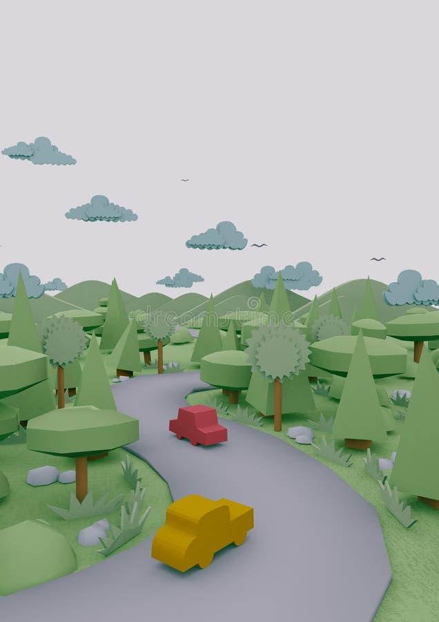 sguardi della carta di origami del paesaggio 3d fotografia stock libera da diritti