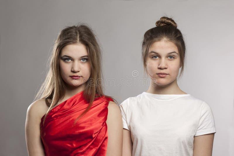 Sguardi delle sorelle dei gemelli immagine stock