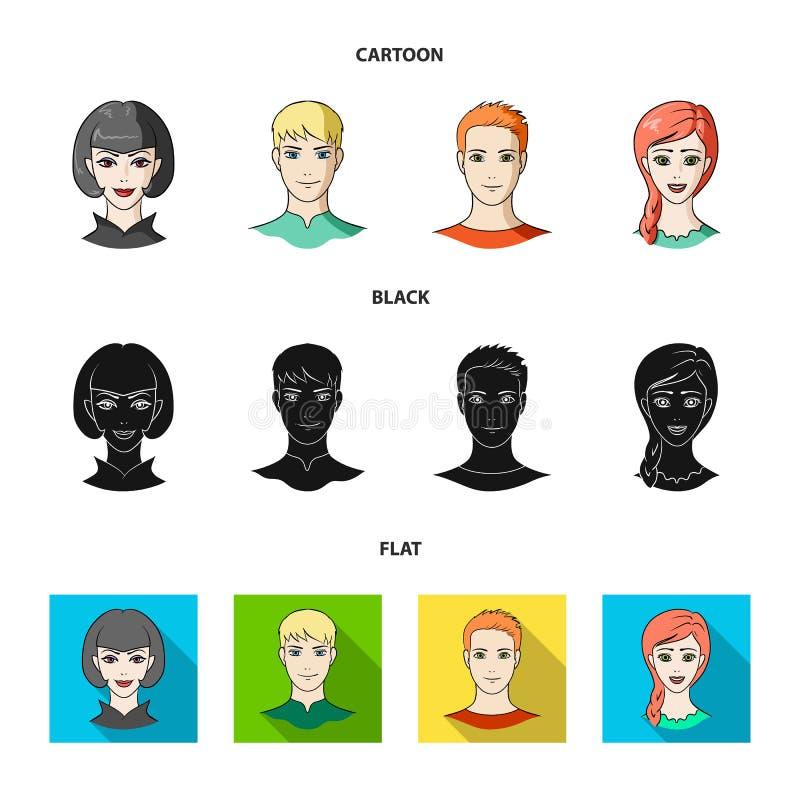 Sguardi differenti dei giovani Icone stabilite della raccolta del fronte e dell'avatar nel fumetto, il nero, azione piane di simb illustrazione vettoriale