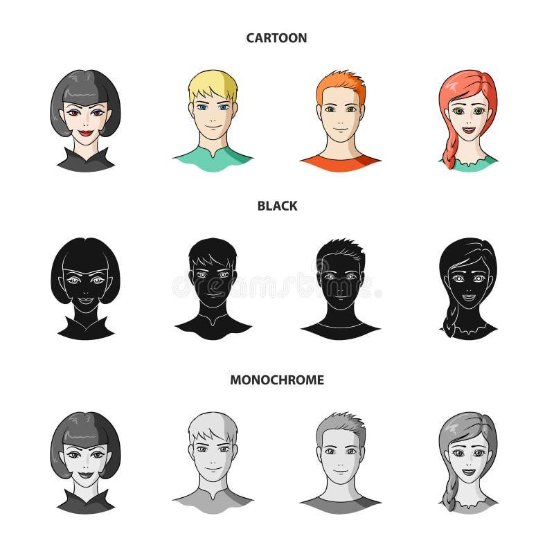 Sguardi differenti dei giovani Icone stabilite della raccolta del fronte e dell'avatar nel fumetto, il nero, simbolo monocromatic illustrazione vettoriale