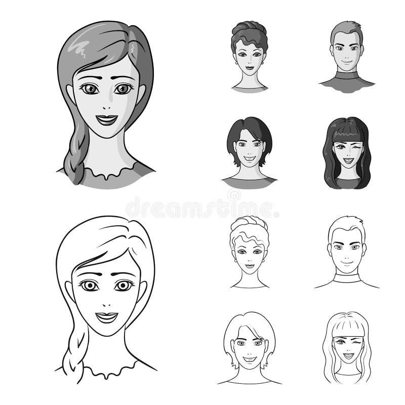 Sguardi differenti dei giovani Icone stabilite della raccolta del fronte e dell'avatar nel profilo, azione monocromatiche di simb illustrazione di stock
