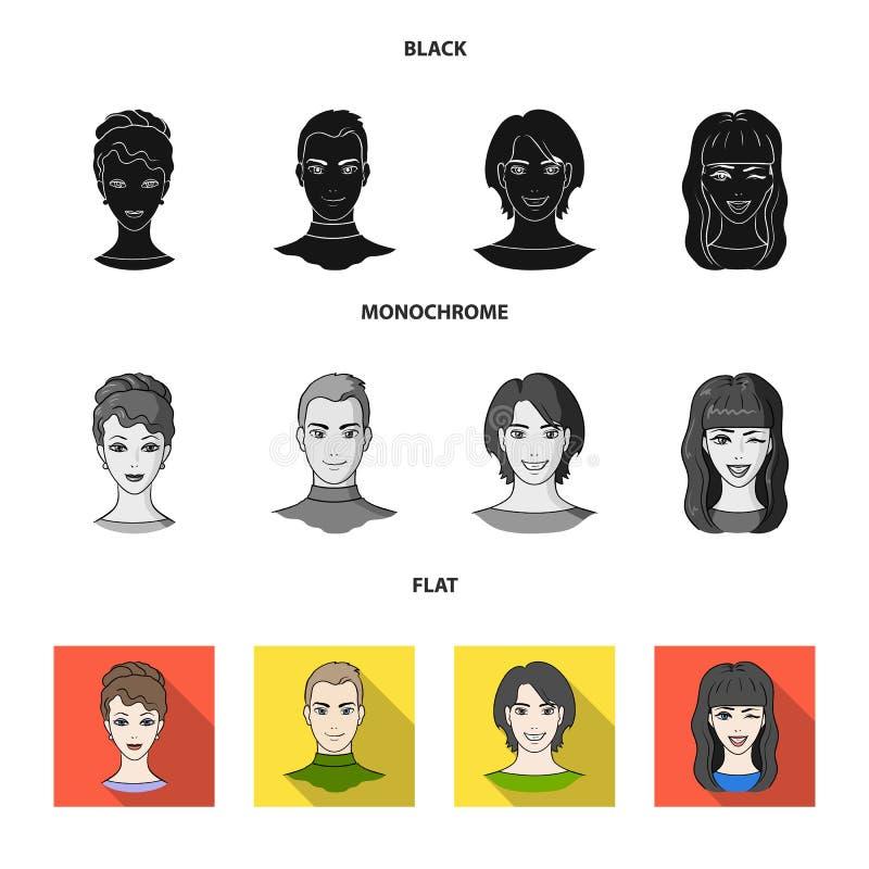 Sguardi differenti dei giovani Icone stabilite della raccolta del fronte e dell'avatar nel simbolo nero, piano, monocromatico di  illustrazione vettoriale