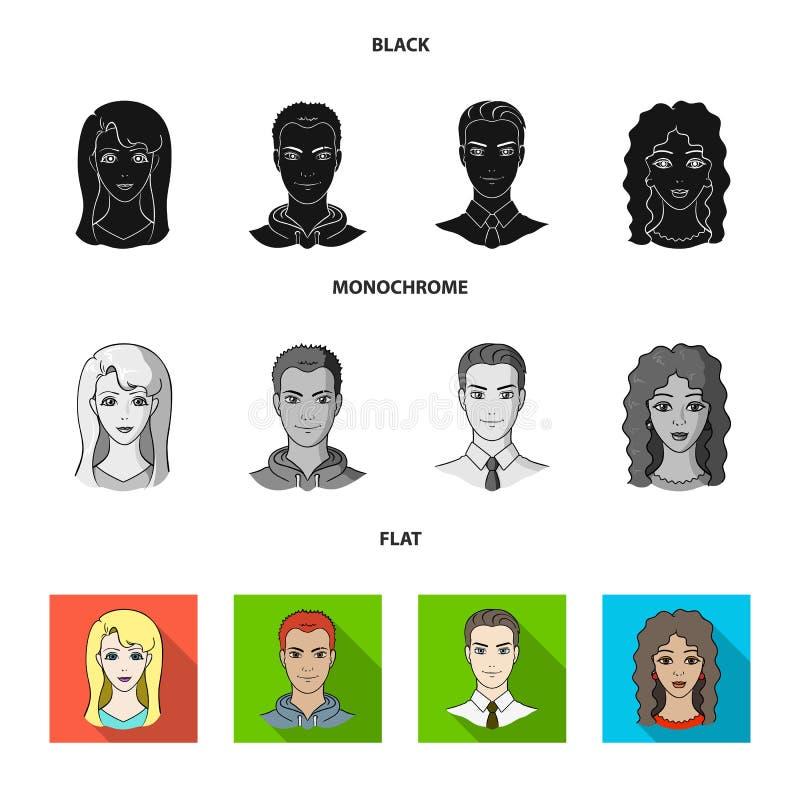 Sguardi differenti dei giovani Icone stabilite della raccolta del fronte e dell'avatar nel simbolo nero, piano, monocromatico di  illustrazione di stock