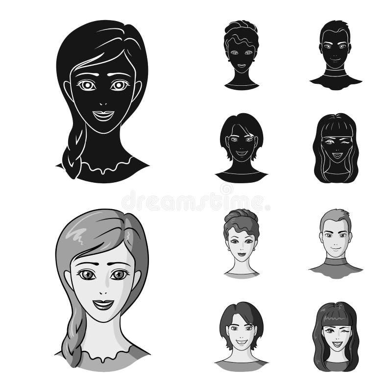 Sguardi differenti dei giovani Icone stabilite della raccolta del fronte e dell'avatar nelle azione nere e monocromatiche di simb royalty illustrazione gratis