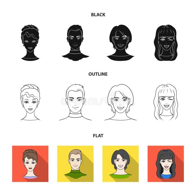 Sguardi differenti dei giovani Icone stabilite della raccolta del fronte e dell'avatar in nero, piano, azione di simbolo di vetto illustrazione di stock