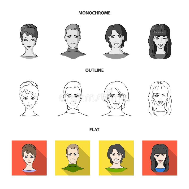 Sguardi differenti dei giovani Icone stabilite della raccolta del fronte e dell'avatar in piano, profilo, simbolo monocromatico d royalty illustrazione gratis