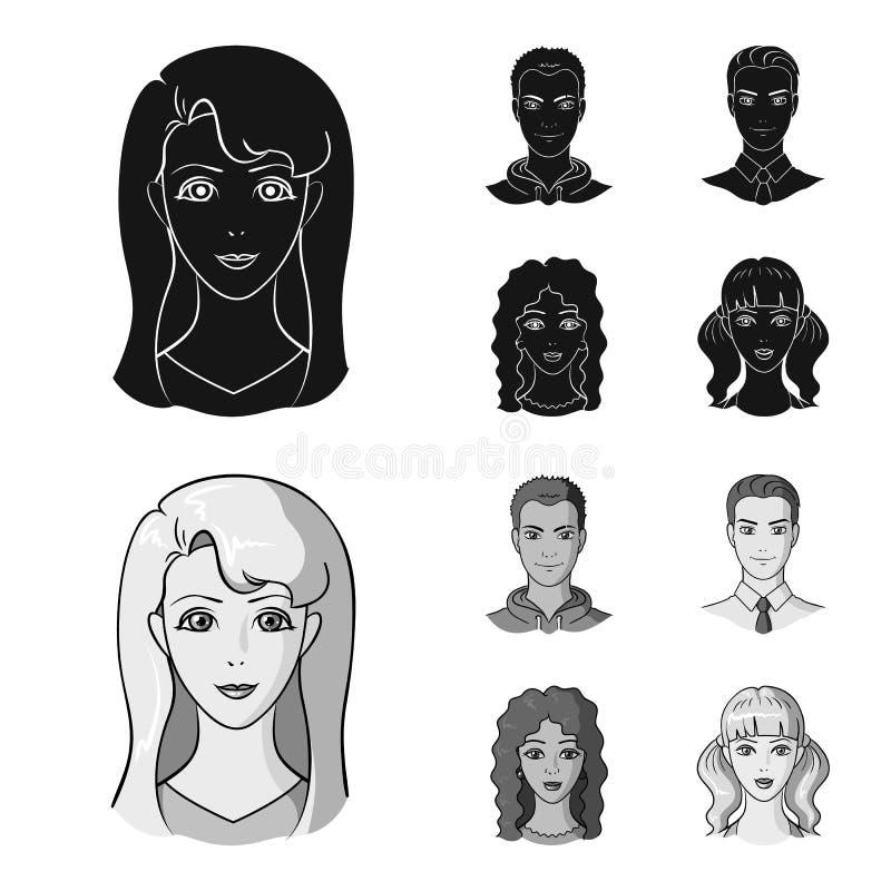 Sguardi differenti dei giovani Icone stabilite nel nero, azione della raccolta del fronte e dell'avatar di simbolo di vettore di  illustrazione vettoriale