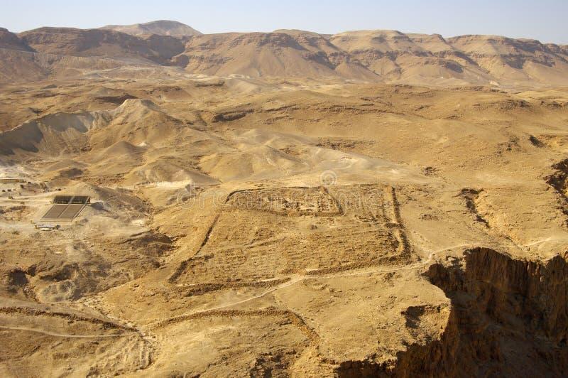Sguardo ad ovest dai fotress di Masada. fotografia stock libera da diritti