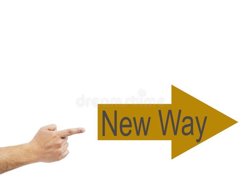 Sguardo del primo piano all'uomo d'affari che indica il nuovo manifesto di modo immagini stock libere da diritti