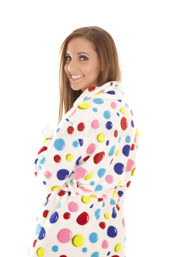 Sguardo dell'abito del puntino di Polka sopra la spalla fotografie stock