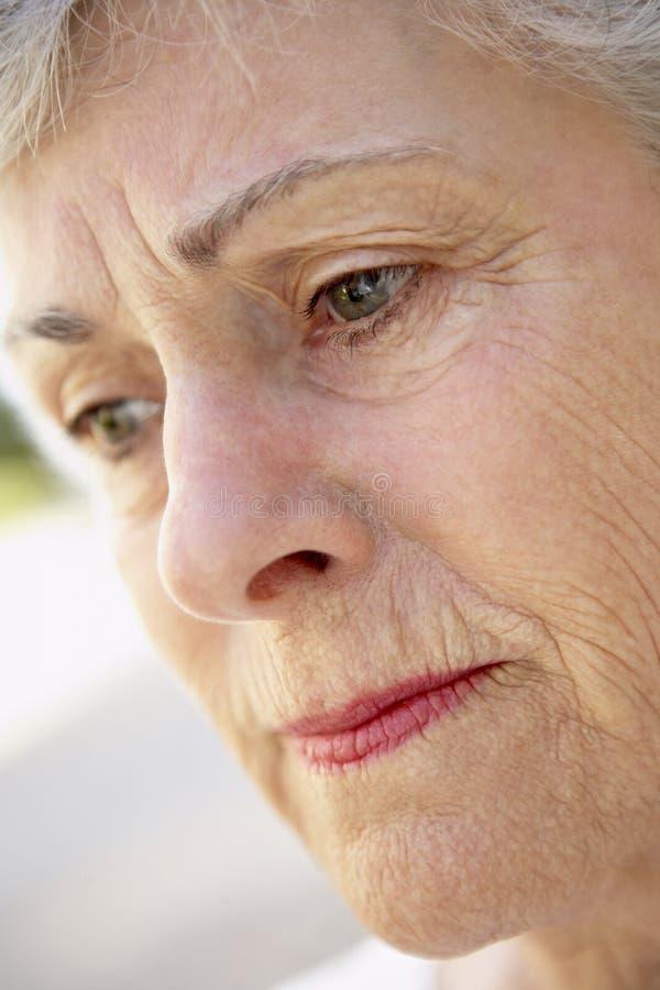 sguardo della donna seria maggiore del ritratto fotografia stock libera da diritti
