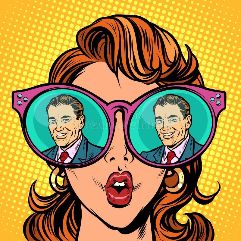 Sguardo della ragazza all'uomo Riflessione della donna in vetri illustrazione vettoriale